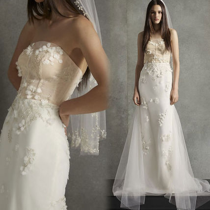 Flower Patterns Plain Long Wedding Dresses