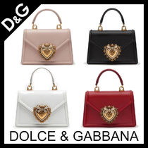 Dolce & Gabbana Heart Calfskin Plain Party Style With Jewels Elegant Style
