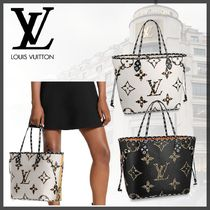 Louis Vuitton NEVERFULL Monogram Leopard Patterns Casual Style A4 Leather