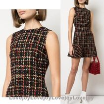 Alice+Olivia Crew Neck Short Other Plaid Patterns Casual Style A-line