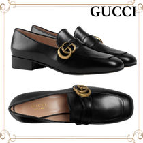 GUCCI Square Toe Plain Leather Loafer & Moccasin Shoes