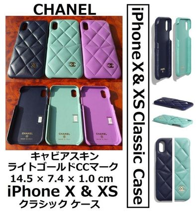 CHANEL TIMELESS CLASSICS Unisex Leather iPhone X iPhone XS Smart Phone Cases