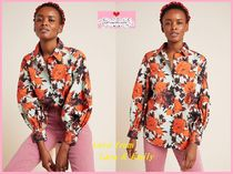 Anthropologie Flower Patterns Casual Style Long Sleeves Plain Cotton
