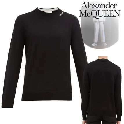 alexander mcqueen Knits & Sweaters Crew Neck Pullovers Long Sleeves Plain Cotton