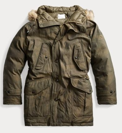 RRL Camouflage Street Style Eco Fur Military Parkas