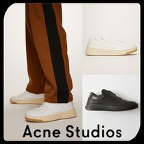 Acne Unisex Street Style Plain Leather Sneakers