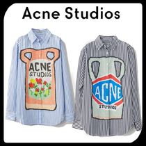 Acne Stripes Wool Long Sleeves Medium Shirts & Blouses