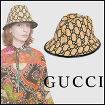 GUCCI Unisex Blended Fabrics Street Style Straw Hats