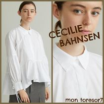 CECILIE BAHNSEN Long Sleeves Plain Cotton Elegant Style Puff Sleeves