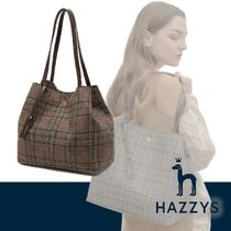 HAZZYS Other Check Patterns Casual Style Elegant Style Totes