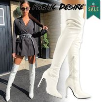 PUBLIC DESIRE Casual Style Plain Elegant Style Over-the-Knee Boots