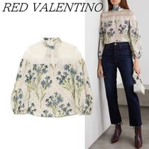 RED VALENTINO Flower Patterns Silk Long Sleeves Lace Elegant Style