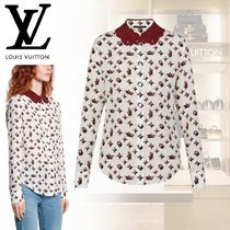 Louis Vuitton Monogram Casual Style Silk Long Sleeves Long Elegant Style