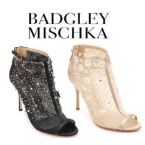 Badgley Mischka Open Toe Plain Leather Pin Heels Party Style Shoes