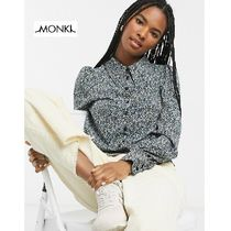 MONKI Flower Patterns Casual Style Puffed Sleeves Long Sleeves