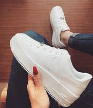 Nike AIR FORCE 1 Platform Lace-up Casual Style Unisex Plain Leather
