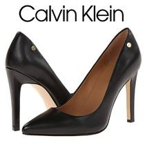 Calvin Klein Casual Style Suede Plain Leather Pin Heels Party Style