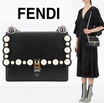FENDI KAN I Chain Plain Leather Shoulder Bags
