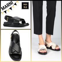 MARNI Open Toe Rubber Sole Casual Style Blended Fabrics Bi-color