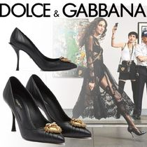 Dolce & Gabbana Casual Style Sheepskin Plain Leather Party Style With Jewels