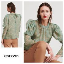 RESERVED Flower Patterns Puffed Sleeves Long Sleeves Shirts & Blouses