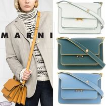 MARNI TRUNK Casual Style 2WAY Plain Leather Office Style Elegant Style