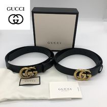 GUCCI GG Marmont Casual Style Unisex Street Style Plain Leather Elegant Style