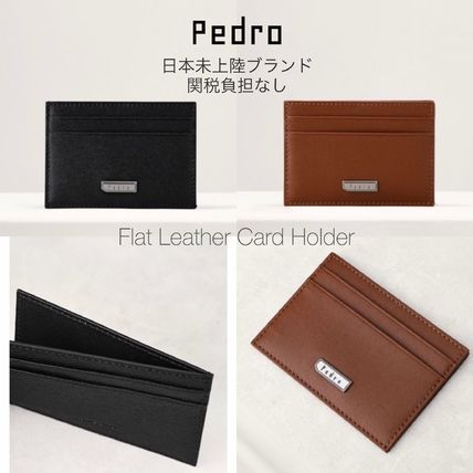 Calfskin Plain Leather Card Holders
