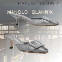 Manolo Blahnik Casual Style Plain Leather Pin Heels Party Style
