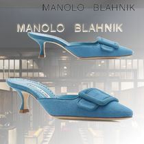 Manolo Blahnik Casual Style Suede Blended Fabrics Plain Leather Pin Heels