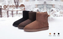 CAMEL CROWN Monogram Suede Studded Plain Leather Boots Boots