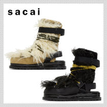 sacai Faux Fur Leather Mid Heel Boots