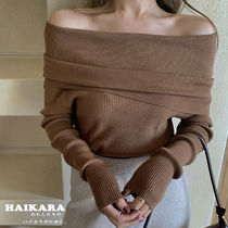 Casual Style Plain Medium Oversized Off the Shoulder