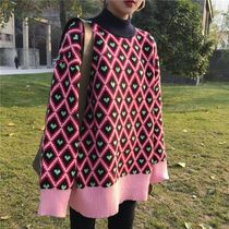 Cable Knit Argile Gingham Heart Casual Style Dolman Sleeves