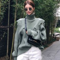 Cable Knit Casual Style Rib Dolman Sleeves Bi-color Plain
