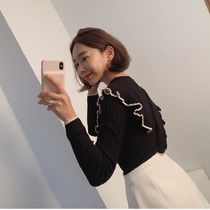 Cable Knit Casual Style Rib U-Neck Bi-color Long Sleeves