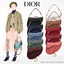 Christian Dior Casual Style Calfskin Blended Fabrics 2WAY Plain Leather