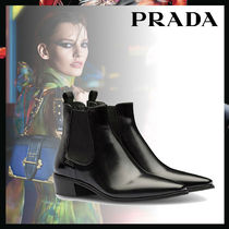 PRADA Plain Leather Block Heels Logo Ankle & Booties Boots