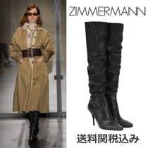 Zimmermann Plain Leather Pin Heels Elegant Style Over-the-Knee Boots