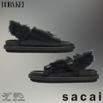 sacai Open Toe Rubber Sole Casual Style Faux Fur Street Style