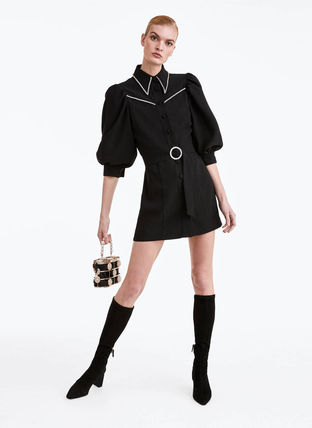 Short Casual Style Plain With Jewels Shirt Dresses