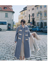 Casual Style Bi-color Plain Long Office Style Duffle Coats