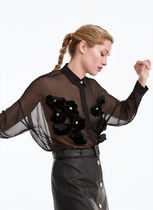 Uterque Flower Patterns Casual Style Chiffon Velvet Long Sleeves