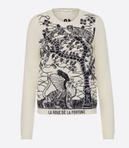 Christian Dior Crew Neck Casual Style Unisex Wool Cashmere Rib