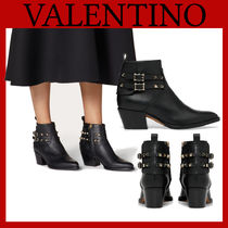 VALENTINO Casual Style Studded Plain Leather Block Heels