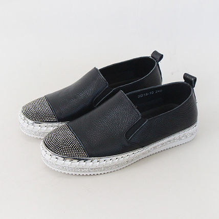 Platform Round Toe Casual Style Plain Leather With Jewels