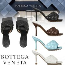 BOTTEGA VENETA Square Toe Plain Leather Heeled Sandals