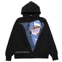VALENTINO Pullovers Long Sleeves Cotton Logo Hoodies