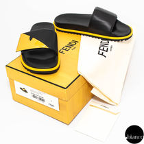 FENDI BAG BUGS Unisex Street Style Leather Shower Shoes Logo Shower Sandals