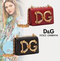 Dolce & Gabbana Casual Style Calfskin Chain Plain Party Style Shoulder Bags